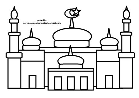 mewarnai gambar sketsa masjid 7 pucc