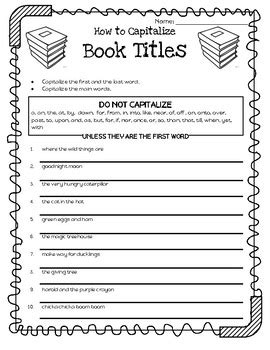 book title capitalization by lanalaine creative tpt
