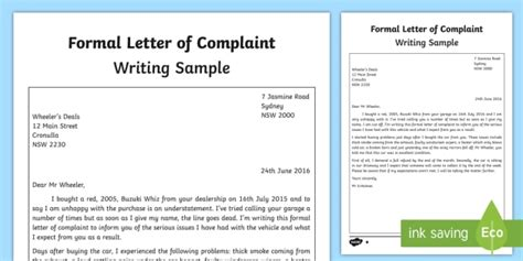 formal letter  complaint writing sample english