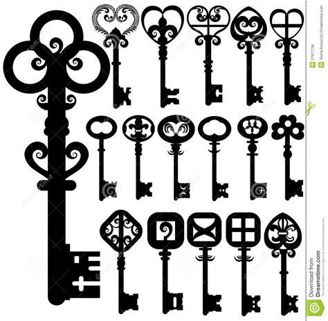 safe with lock and key silhouettes royalty free stock photos image