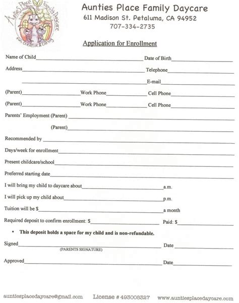 home daycare forms printable printable daycare contracts dtk templates
