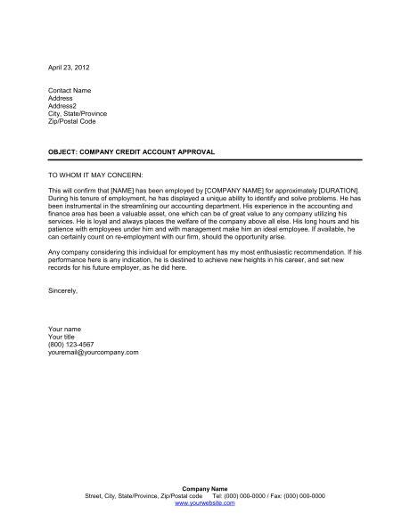 verification  employment  letter  recommendation