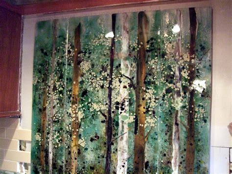 kitchen backsplash fused glass abstract trees designer