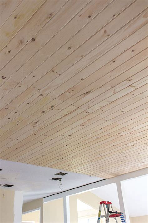 kitchen chronicles diy tongue  groove plank ceiling