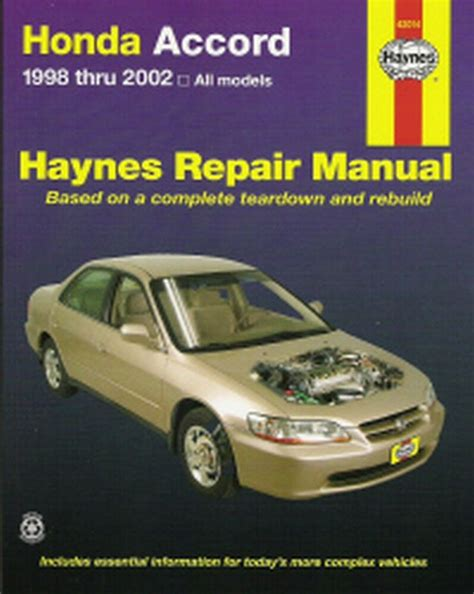 online car repair manuals free 2000 honda accord lane departure warning 1998 1999 2000 2001 2002 honda accord haynes repair service shop manual 5389 1563925389 ebay