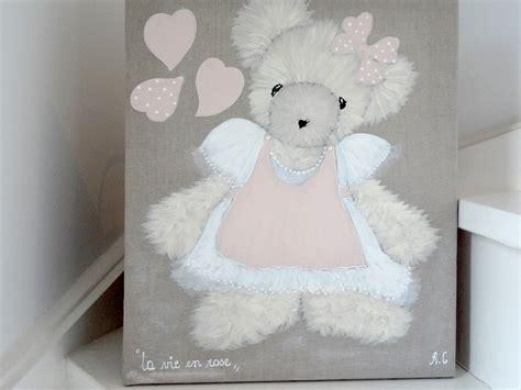 chambre romantique fille tableau ourson peinture pour chambre de fille