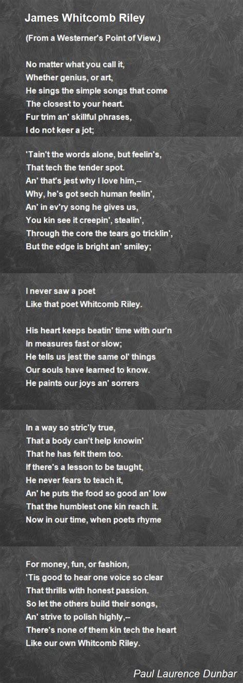 james whitcomb riley poem  paul laurence dunbar poem