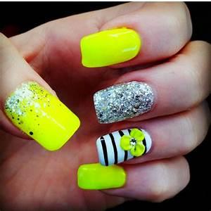 cute, fashion, girly, glitter, neon nails, stripe nails ...
