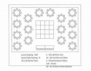 40x60 Pole Tent Round Table Dance Floor Seating