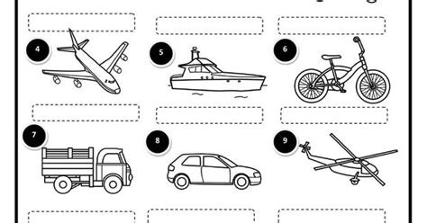means of transport science worksheets and vocabulary