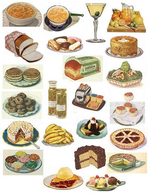 vintage cuisine vintage food illustrations retro food groups