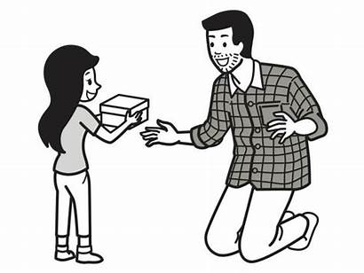 Give Gift Present Father Daughter Cartoon Surprise