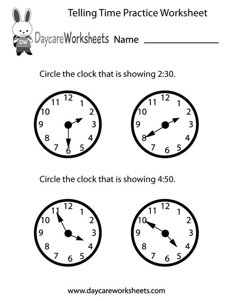 preschool telling time practice worksheet