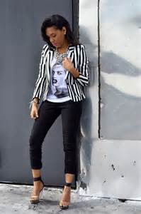 Black and White Striped Blazer Outfit