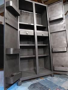 Armoire Rangement Cuisine : vous propose cette ancienne armoire m tal de cuisine elle poss de 4 ~ Teatrodelosmanantiales.com Idées de Décoration