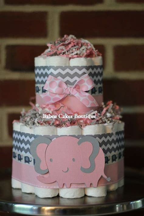 small  tier pink  gray elephant diaper cake pink grey
