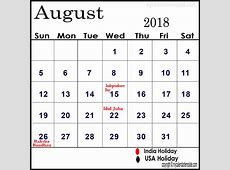 August 2018 Calendar With Holidays monthly printable