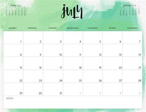 july  colorful calendar  office desk printable
