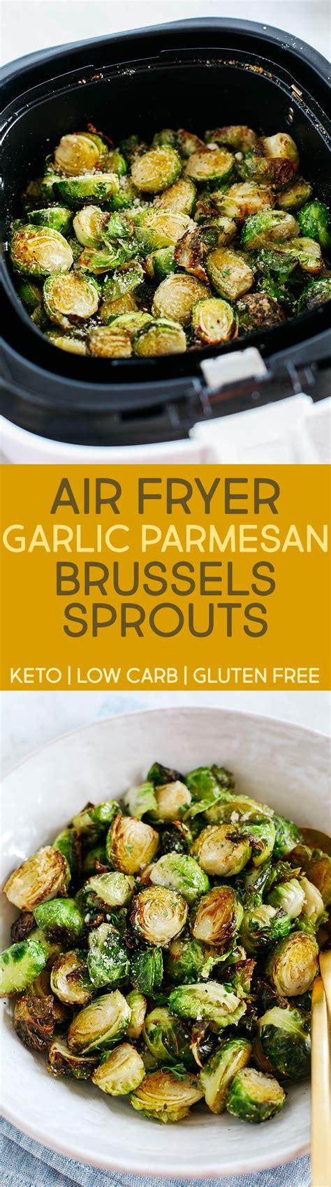 brussels sprouts air fryer parmesan garlic crispy