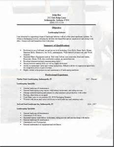 Landscaping Resume Description by Landscaping Ideas Sle Resume For Landscaping