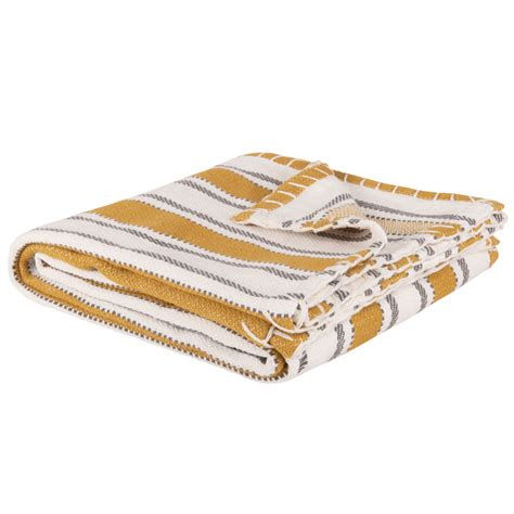 plaid en coton motifs 224 rayures jaune moutarde 160x120