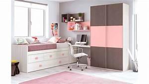 Lit Fille Avec Rangement : chambre fille rose avec une armoire coulissante glicerio so nuit ~ Melissatoandfro.com Idées de Décoration