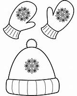 Winter Mittens Coloring Hat Hats Pages Snow Clothing Gloves Craft Designs Training sketch template