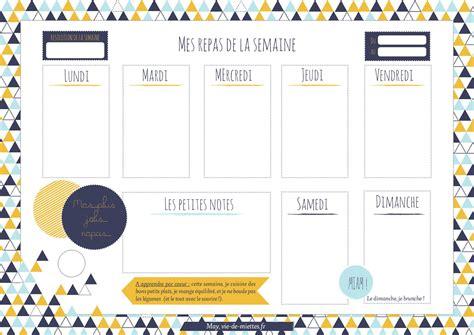 la cuisine au quotidien menus de la semaine à imprimer plannings vierges pdf