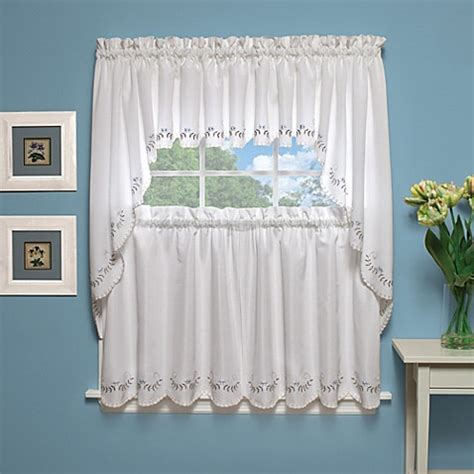 White And Blue Window Valances by Forget Me Not Fan Window Curtains And Valances In White