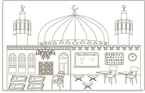 9 mewarnai gambar masjid