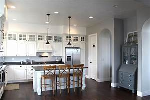 gray wall paint transitional kitchen benjamin moore With kitchen colors with white cabinets with wooden race track wall art