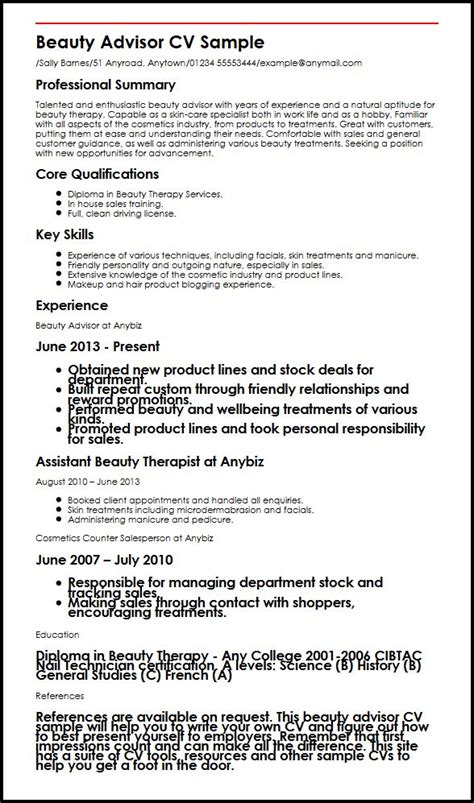 cv for beauty therapist beauty advisor cv sample myperfectcv