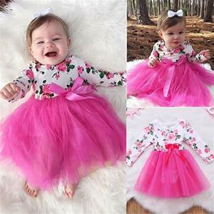 New Arriavl Prince Pink Dress Newborn Baby Girls Floral ...