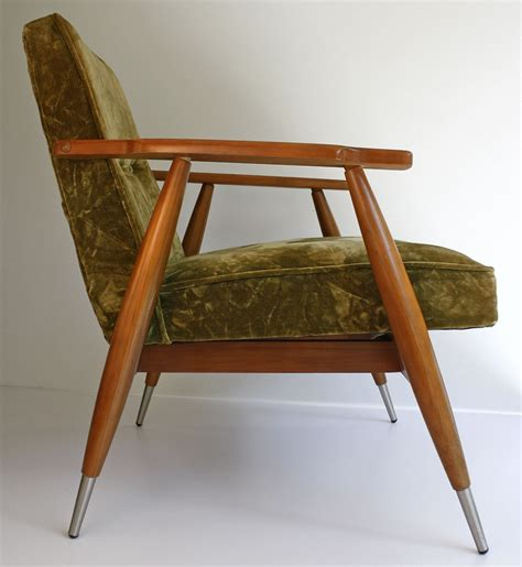 vintage mid century modern lounge chair velour