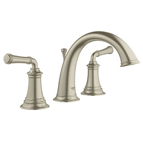 brushed nickel bathroom sink faucet shop grohe gloucester brushed nickel 2 handle widespread
