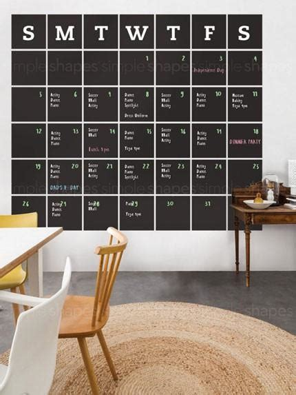 chalkboard calendar wall decal extra large simple shapes