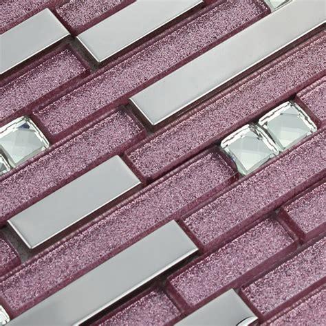 kitchen backsplash blue purple glass mosaic tile backsplash silver stainless steel