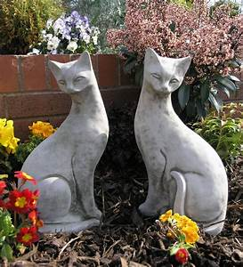 Pair Of Siamese Cats Garden Ornaments