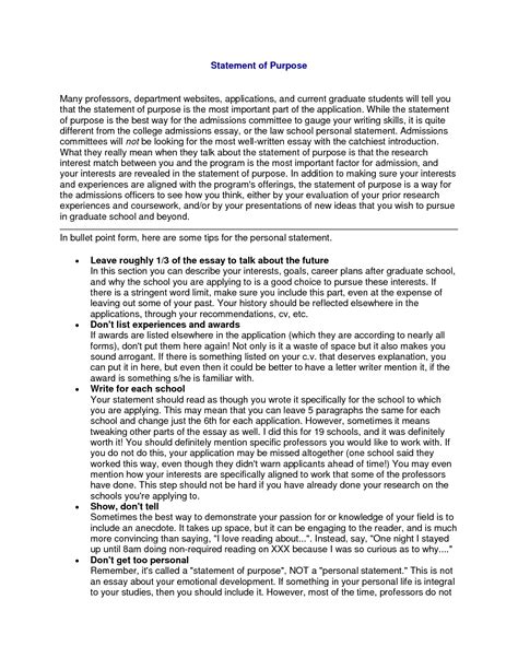 sle statement of purpose for employment cover letter