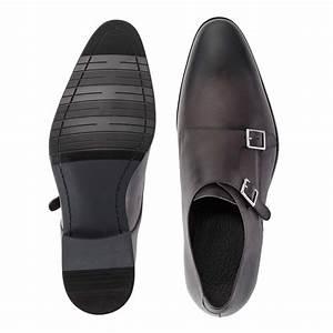 Dark Grey Double Monk Strap Shoes