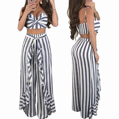 Outfits Piece Summer Striped Crop Pants Wide
