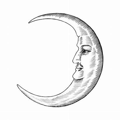 Moon Face Hand Drawn Drawing Vector Line