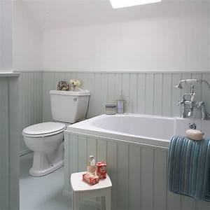Aqua tongue and groove bathroom housetohomecouk for Tongue and groove wall panelling for bathrooms