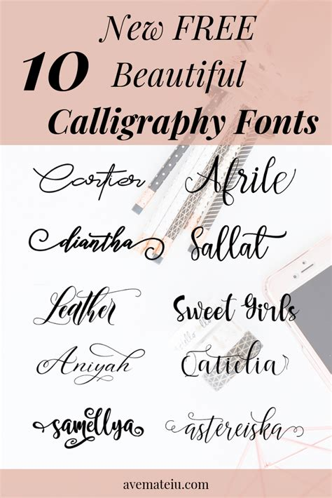 New Free by 10 New Free Beautiful Calligraphy Fonts Ave Mateiu