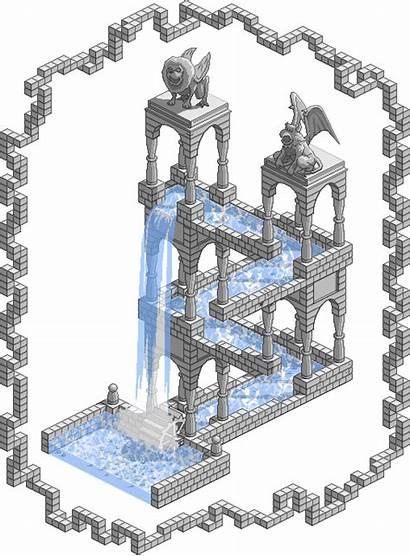 Escher Waterfall Impossible Pixel Animated Deviantart Idea
