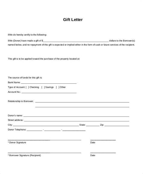 sample gift letters  examples   word
