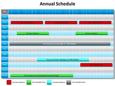 annual schedule shown  gantt chart powerpoint diagram