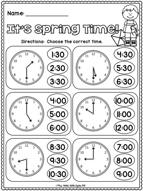free it s spring time telling time ms ryan math