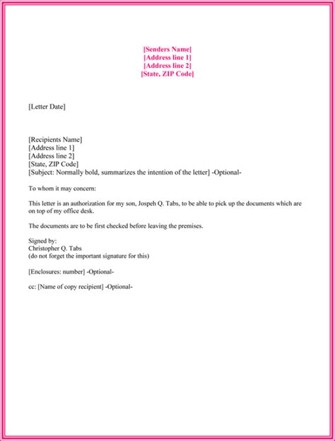 authorization letter sample  collect document joe