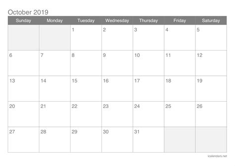 october  printable calendar icalendarsnet